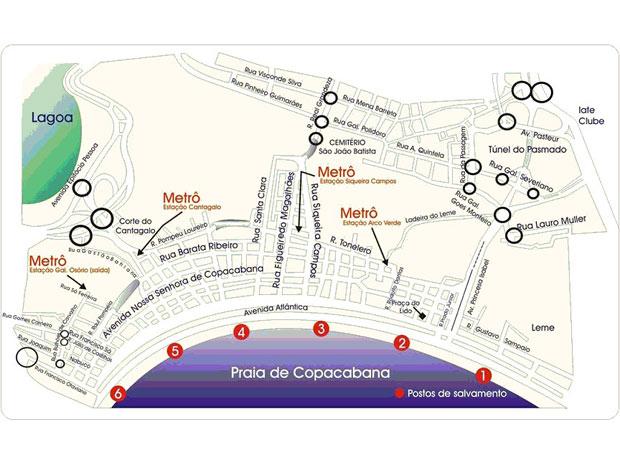 mapa Copacabana réveillon