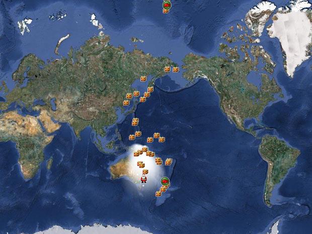 Mapa no site Norad mostra caminho percorrido pelo Papai Noel pelo mundo