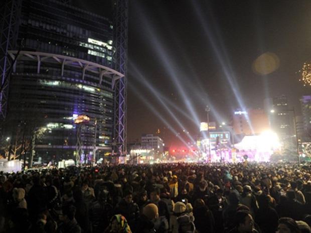 Fogos de artifício em Seul, capital da Coreia do Sul.
