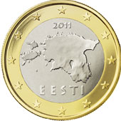 A nova moeda de 1 euro, na Estônia.
