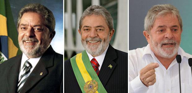 Da esquerda para direita: foto oficial de Lula de 2003, foto oficial de Lula de 2007 e foto tirada em30 de dezembro de 2010