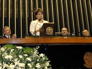 Dilma Rousseff faz seu primeiro pronunciamento à nação, durante solenidade no Congresso Nacional