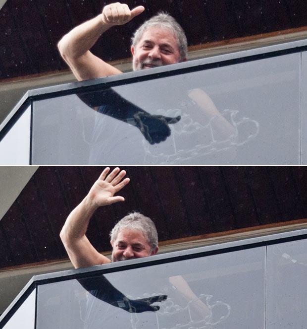Lula acena da janela do apartamento em São Bernardo