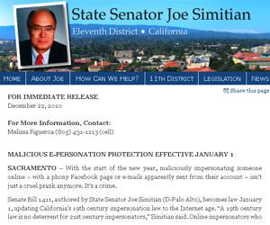 Site do senador Joe Simitian sobre lei contra perfis falsos na internet