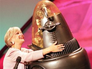 Anne Francis e Robbie the Robot, em 1998