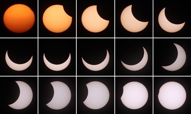 Montagem mostra a evolução do eclipse observado em Viena, na Áustria.