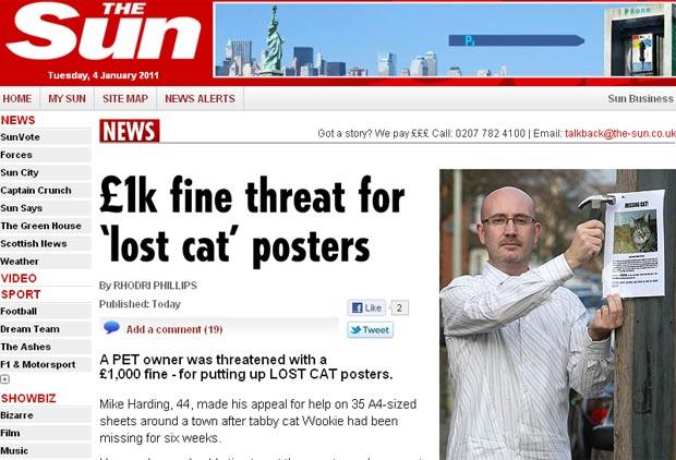 Mike Harding colocou cartazes para tentar encontrar gato desaparecido.