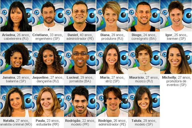 """Os 17 participantes da 11ª edição do """"Big Brother Brasil"""""""