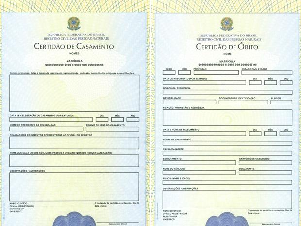 Papéis das certidões de casamento e óbito também serão modificados