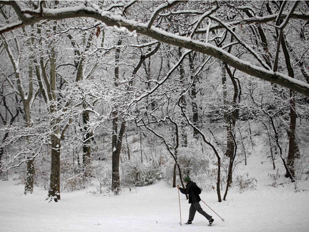 Homem caminha sob a nevasca no parque Riverside, em Nova York, nesta sexta-feira (7).