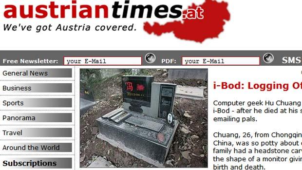 Chinês ganhou túmulo em formato de computador.