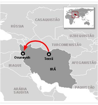 Mapa do acidente - Avião no Irã