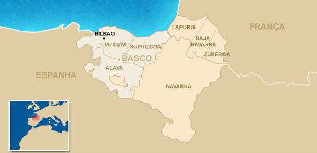 Mapa mostra o território basco reivindicado pelo ETA.