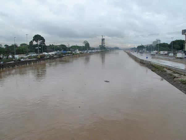 Rio Tietê transbordou e causou pontos de alagamento na Marginal Tietê (Foto: Paulo Toledo Piza/G1)