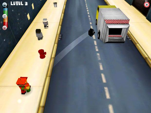 'Garbageman' limpa as ruas da cidade com ajuda do jogador.
