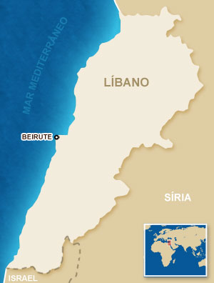 Mapa do Líbano.
