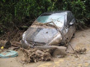Estragos da chuva no bairro de Campo Grande, em Teresópolis