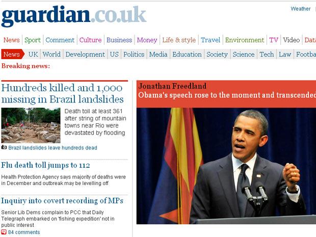 """Centenas morrem e 1.000 estão desaparecidos após deslizamentos de terra no Brasil, diz a chamada na capa da edição on-line do diário britânico """"Guardian"""""""