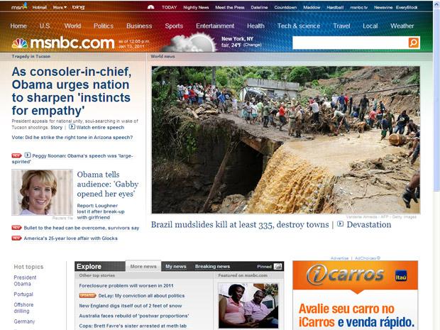 A emissora norte-americana MSNBC destacou a tragédia do Rio de Janeiro em sua página principal.