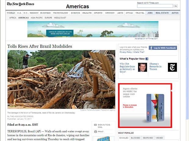 O norte-americano New York Times destaca o número de vítimas (350) nas três cidades mais afetadas.