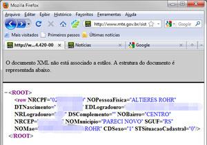 Página no site do Ministério do Trabalho fornece dados de cidadãos