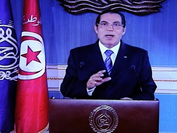 O presidente da Tunísia,  Zine El-Abidine Ben Ali, durante discurso televisionado nesta quinta-feira (13).