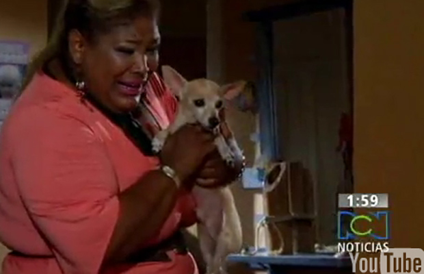 A secretária Venezuela e seu cão, Huguito, em cena da novela publicada no YouTube.