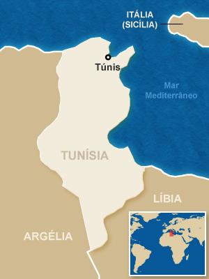 Mapa localiza a Tunísia.