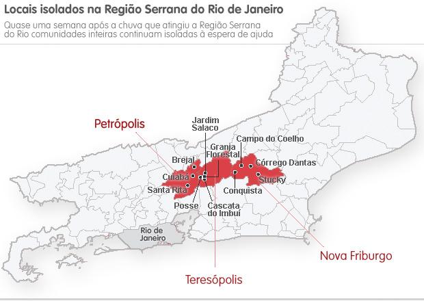 Mapa regiões com dificuldade de acesso