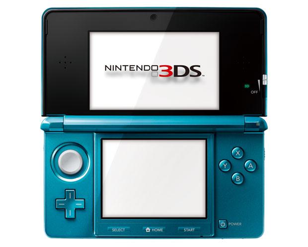 3DS aberto com a tela superior, no formato widescreen que apresenta imagens em 3D.