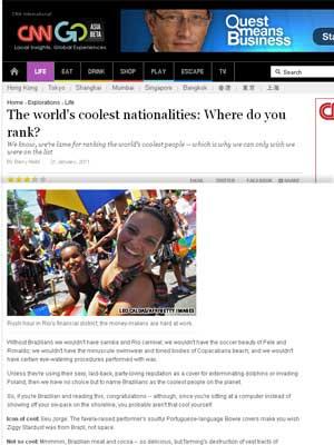 Brasileiros são descritos como 'sexy, descontraídos e festeiros' pelo site