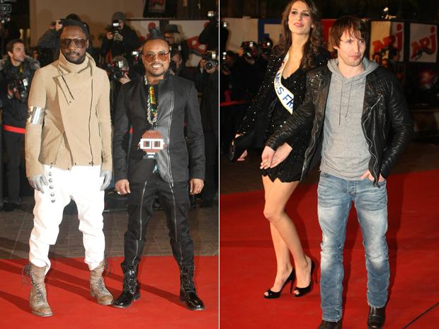 Will. I. am e Apl.de.Ap, do Black Eyed Peas, e o cantor James Blunt com Laurie Thilleman, a miss França de 2011