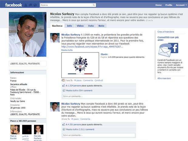Reprodução do perfil do presidente da França, Nicolas Sarkozy, nesta segunda-feira (24).