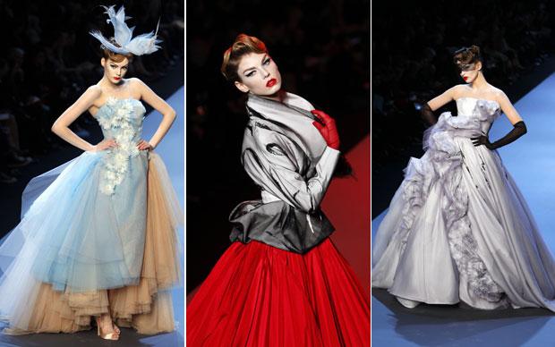 Propostas da alta costura do britânico John Galliano, exibidas nesta segunda em Paris