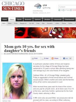 A americana Cathleen Miller admitiu ter tido relações com garotos de 14 e 15 anos