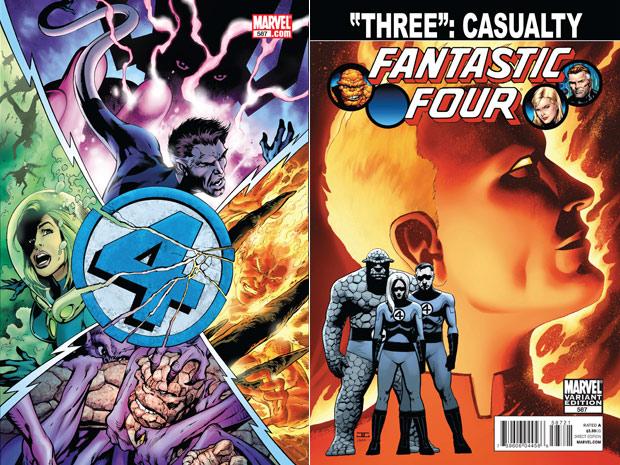 Imagens das capas da edição número 587 dos quadrinhos do Quarteto Fantástico, com a morte do Tocha Humana