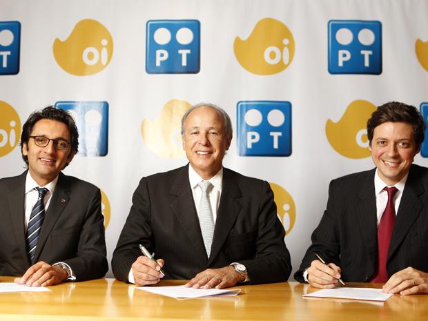 Da esquerda para direita: Zeinal Bava, presidente executivo da Portugal Telecom; Otávio Azevedo, presidente do Grupo Andrade Gutierrez e Pedro Jereissati, vice-presidente do Grupo Jereissati Participações