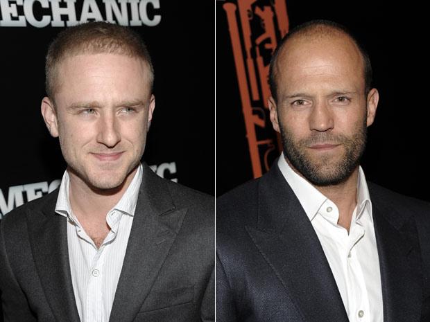 Ben Foster e Jason Statham participam do lançamento do longa 'Assassino a preço fixo' em Los Angeles
