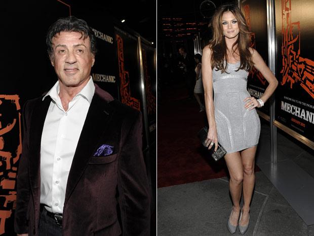 Sylvester Stallone e a atriz Mini Anden participam do lançamento do remake de 'Assassino a preço fixo'.