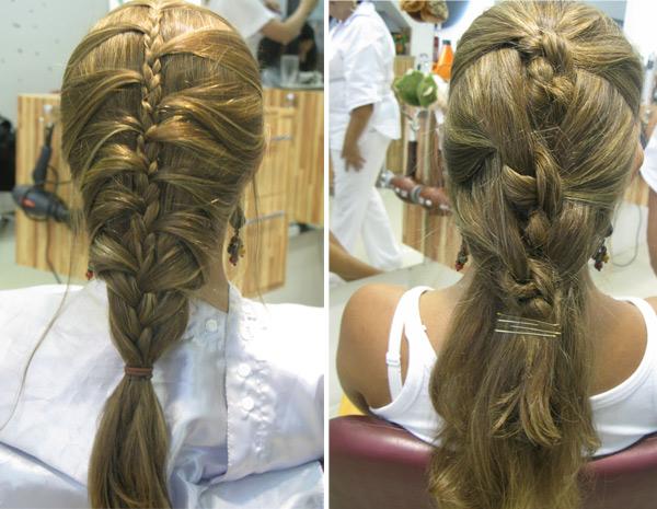"""Entre as opções de penteado, estão a """"trança escama de peixe"""" e o """"penteado nó"""""""