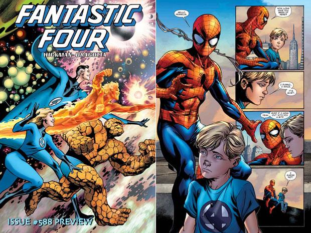 Prévia da última edição dos quadrinhos do Quarteto Fantástico terá participação do Homem Aranha