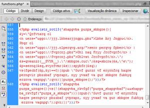 Código malicioso oculto em um tema de WordPress.
