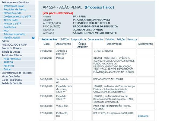 Ação penal 524 investiga o deputado Lira Maia