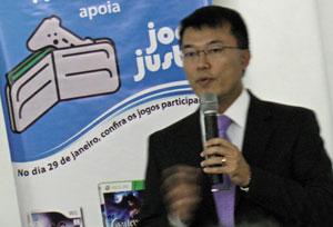 Marcos Chien, advogado tributarista da Acigames, em palestra no dia dos descontos de games