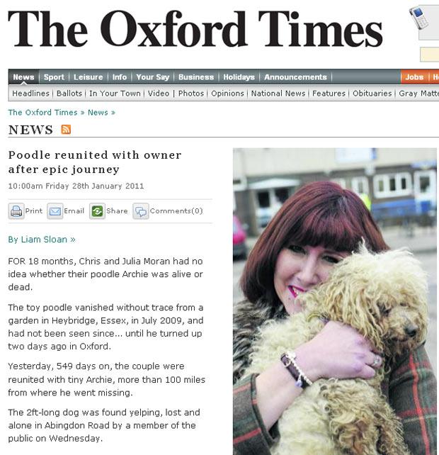 Julia Moran com o cão 'Archie'.