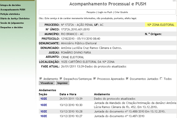 Processo que investiga a deputada Antônia Lúcia Câmara