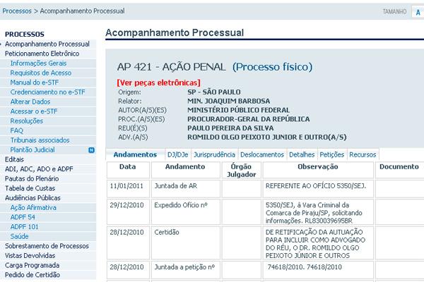 Ação penal que investiga o deputado Paulo Pereira da Silva