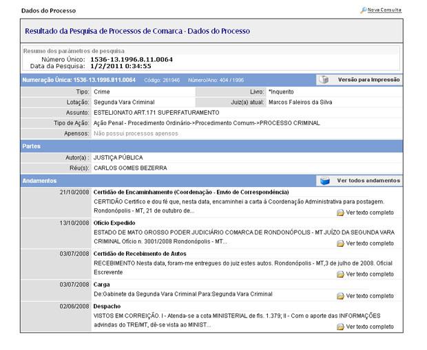 Processo contra Carlos Bezerra no TJ-MT