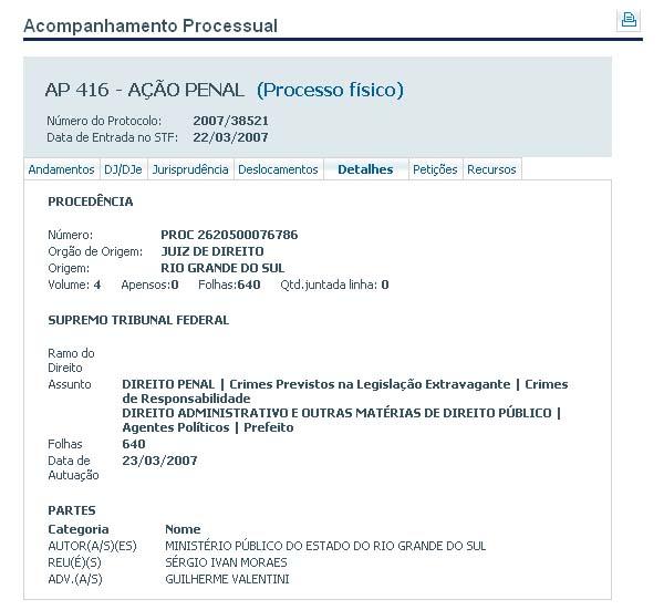 Ação penal que investiga o deputado Sérgio Moraes