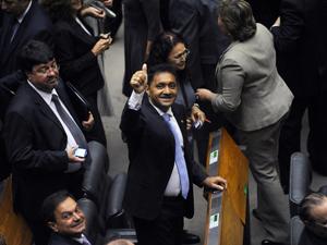 O deputado Francisco Everardo Oliveira Silva, Tiririca, durante a solenidade de posse na Câmara